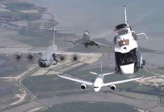 视频:空中客车家族编队飞行 吹响蓝天集结号