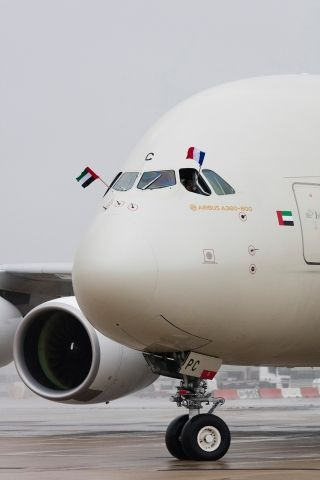 The A380 arrived at Paris Charles de Gaulle.