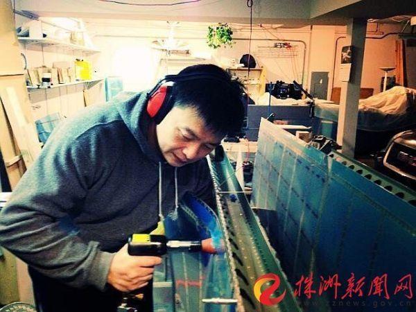 一个个铆钉,让李湘宏自制飞机的梦想慢慢成为现实(受访者