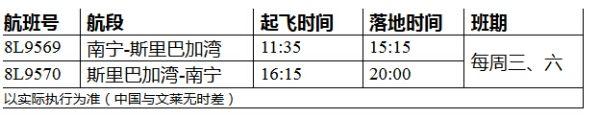 祥鹏航空7月15开南宁=斯里巴加湾(文莱)航线