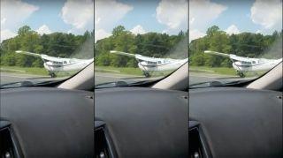 【视频】遇紧急情况 美国1架赛斯纳公路上降落