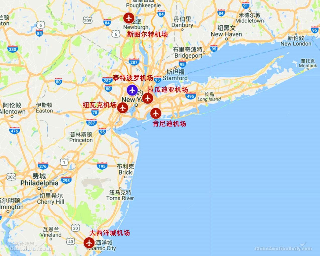 纽约都会区主要机场布局