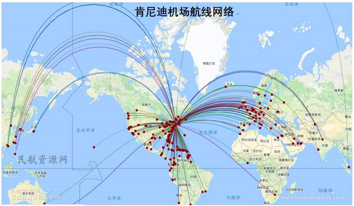 肯尼迪机场航线网络图