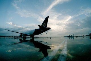 雨后青岛机场 靓美景