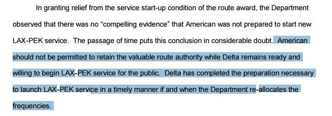 达美航空向美国交通部提交文件