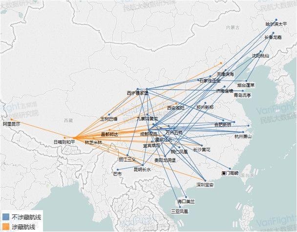 西藏航空航线网络图。