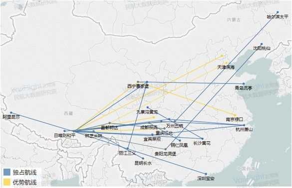 西藏航空优势航线图。