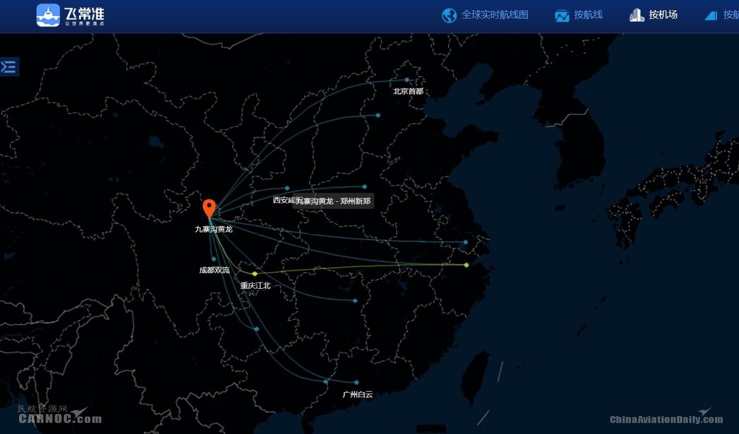 飞常准-九寨机场航线网络图