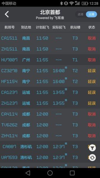 雷雨天气影响 首都机场已取消航班340架次