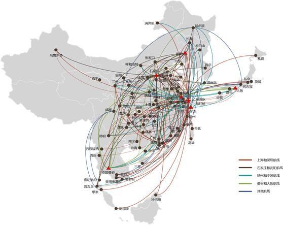 春秋航空航线网络图