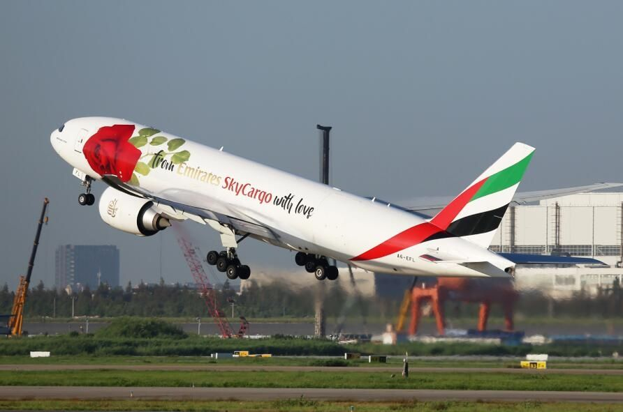 阿联酋航SkyCargo玫瑰涂装全货机现身浦东机场 摄影:哈库