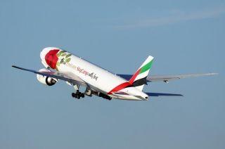 阿联酋航SkyCargo玫瑰涂装全货机现身浦东机场