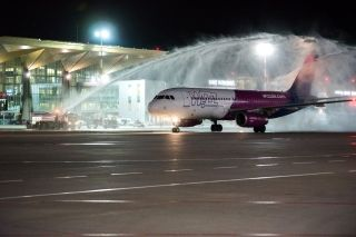 The first flight wastraditionally greeted at Pulkovo with a water cannon salute