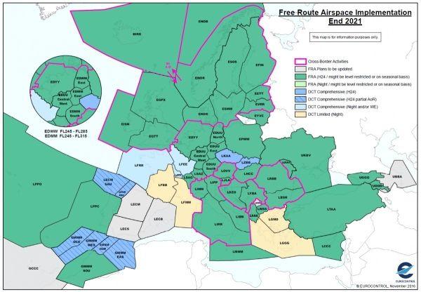 欧洲核心区域自由航线空域取得进一步发展
