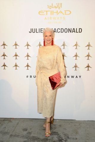 Model Maye Musk attends the launch of Etihad Airways' promotional fashion film 'Runway To Runway' at NYFW: The Shows in New York City