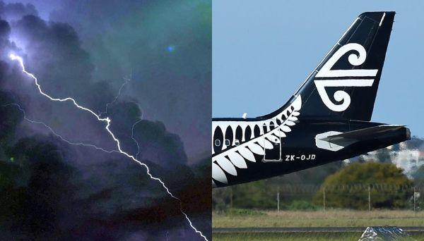 新西兰航空飞机被闪电击中后返航