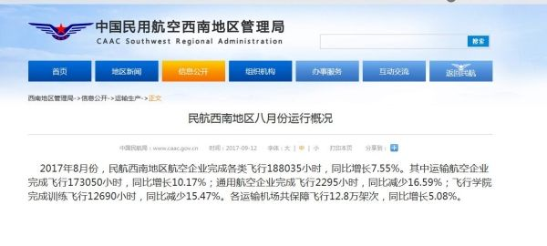 西南地区8月份通用航空企业完成飞行2295小时