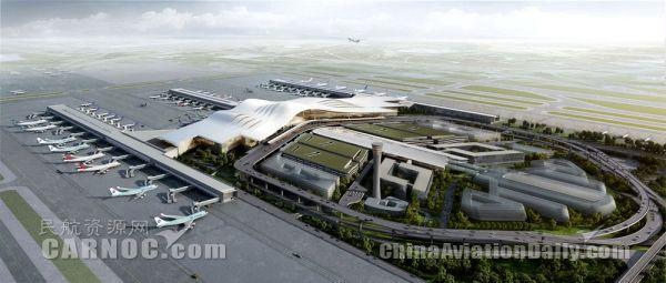 乌鲁木齐机场航站楼陆侧鸟瞰图。