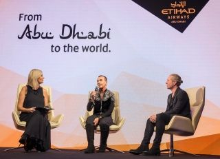 (L-R) A panel discussion with Linda Celestino, Etihad Airways Vice President Guest Experience Delivery, designer Julien Macdonald and stylist Karl Plewka