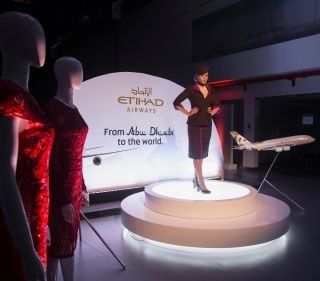 An Etihad Airways Cabin Crew models at Etihad Airways Innovation Training Academy