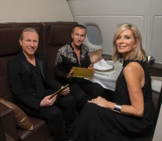 (L-R) Stylist Karl Plewka, designer Julien Macdonald and Linda Celestino, Etihad Airways Vice President Guest Experience Delivery chat in the A380 The Residence mock-up