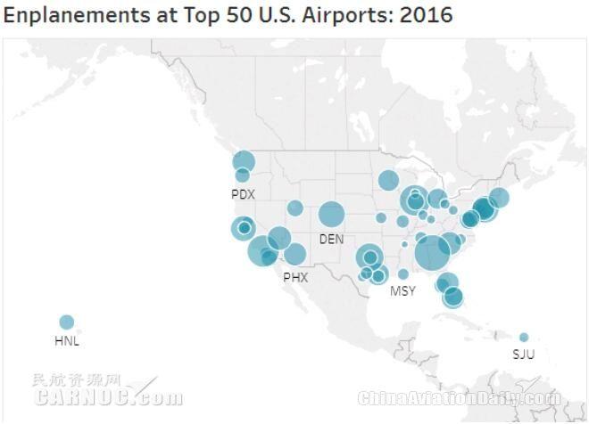 全美出港旅客排名前50名的机场分布