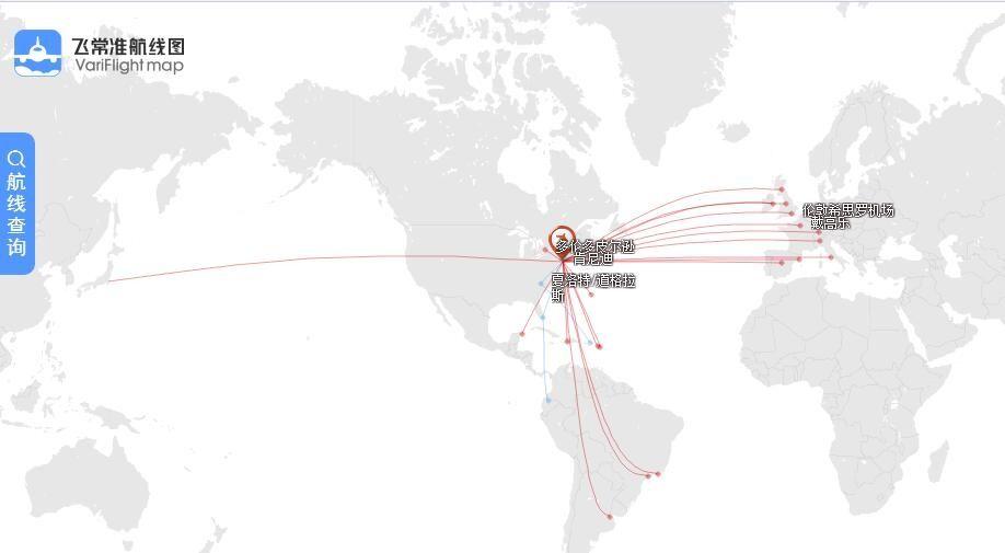 美国航空在纽约(肯尼迪)的国际地区航线网络图