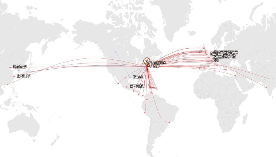 美国联合航空在纽约(纽瓦克)的国际地区航线网络图