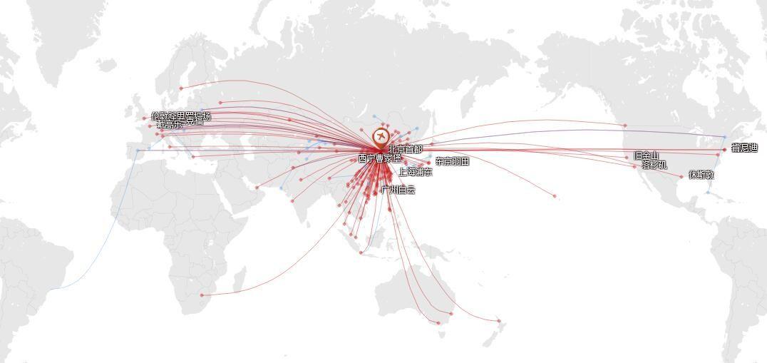 国航2017年9月在北京的航线网络