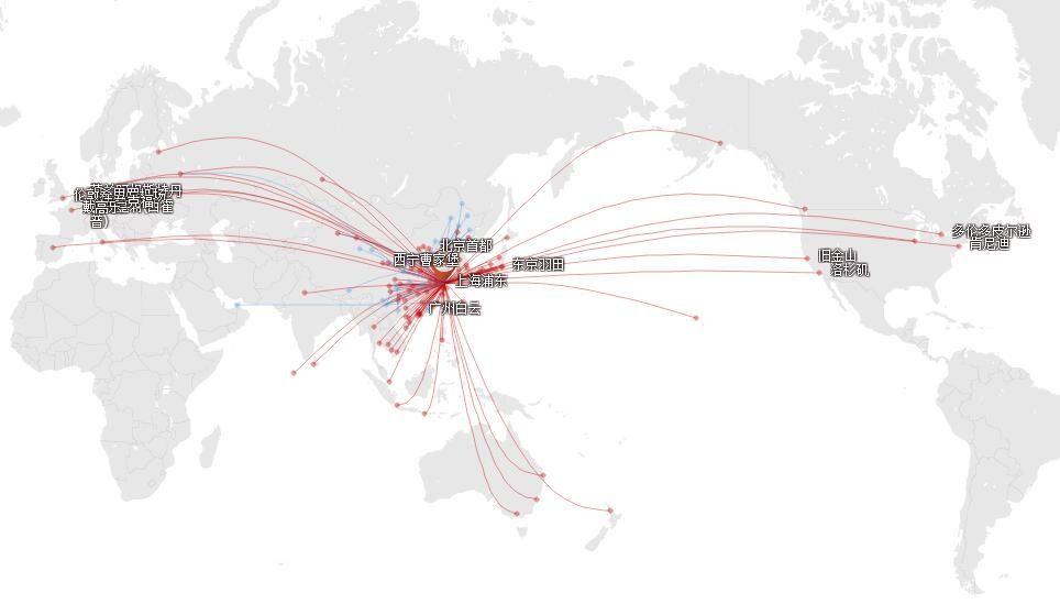 东航2017年9月在上海浦东的航线网络