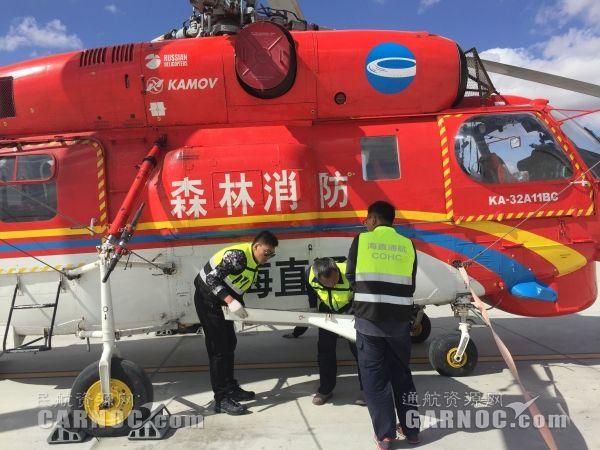 """富蕴机场保障海直通航完成""""卡32""""检护保养"""