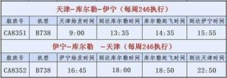 11月2日起伊宁-库尔勒-天津航线开通