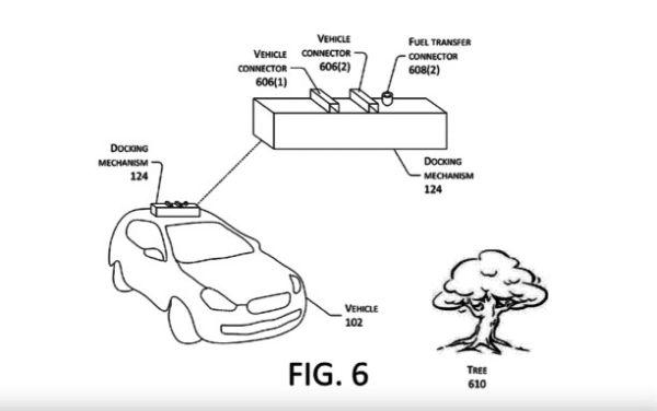 亚马逊新专利:用无人机给行驶中的电动汽车充电