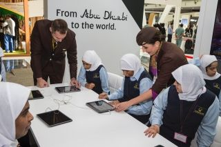 Visitors to Etihad Airways' exhibition stand at WorldSkills Abu Dhabi 2017 are provided with a demonstration on computer skills