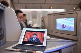 """东航航班""""空中看十九大"""" 每天覆盖3万乘客"""