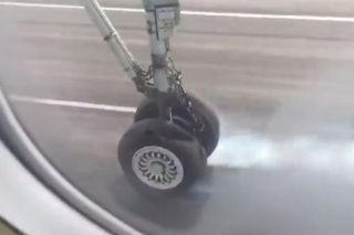 惊险!Flybe航空飞机起飞时轮胎爆裂
