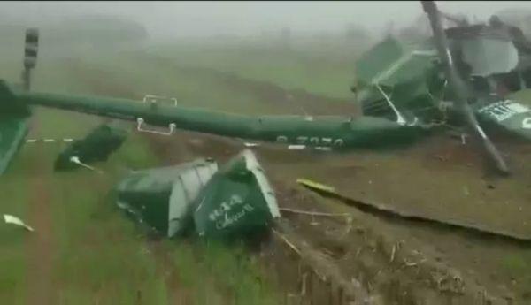 现场曝光!一架R44直升机今日在安阳韩陵坠毁