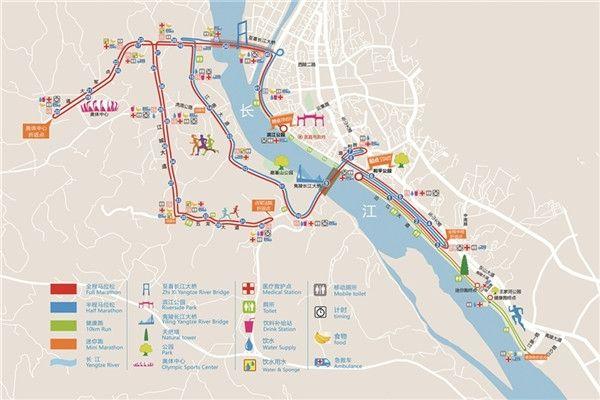 图:图为2017宜昌国际马拉松赛全马,半马,健康跑,迷你跑官方线路图 .