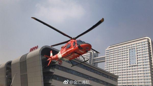 金汇通航已出动安医附院备勤的直升机赴现场救援。图/金汇通航