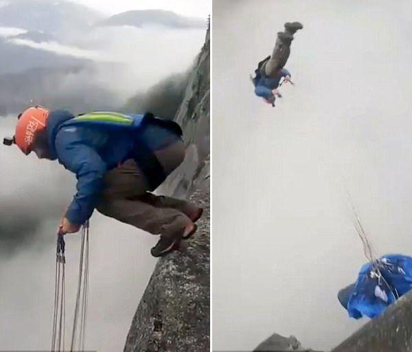 悬崖边前空翻!跳伞达人挑战高难度定点跳伞
