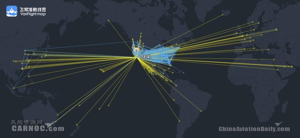 洛杉矶国际机场航线网络图