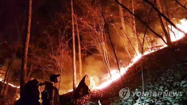韩国釜山三角山发生山火 出动13架直升机扑救