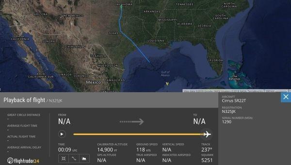 美国一架西锐SR22T在墨西哥湾上空失联