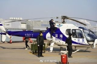 滨海新区警航直升机新年首飞 空巡北大港湿地