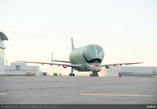 """首架空客""""超级大白鲸""""运输机下线"""