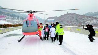 湖北省首例雪中空中急救!直升机转运危重孕妇
