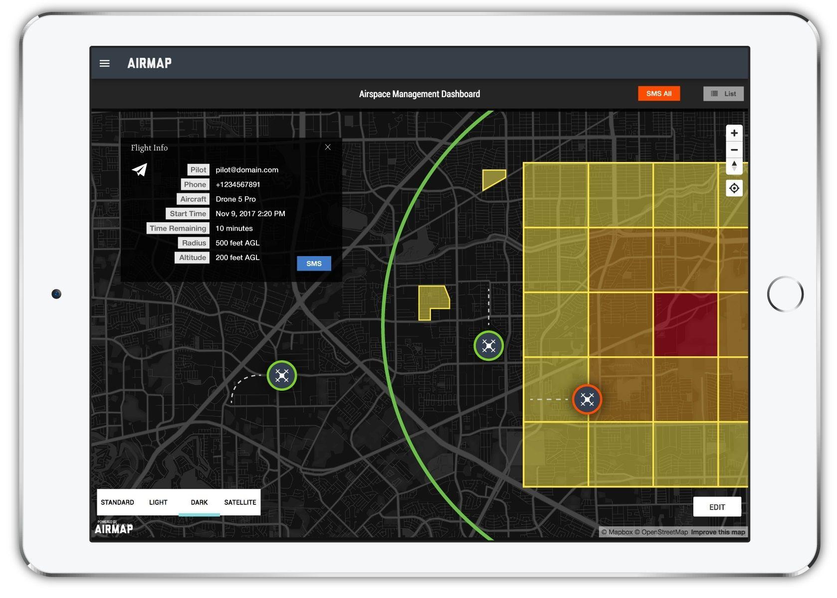 """无人机应用引入AirMap""""低空授权和通知能力"""""""