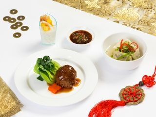 Chinese dishes served at Emirates lounges found in Dubai International Airport.