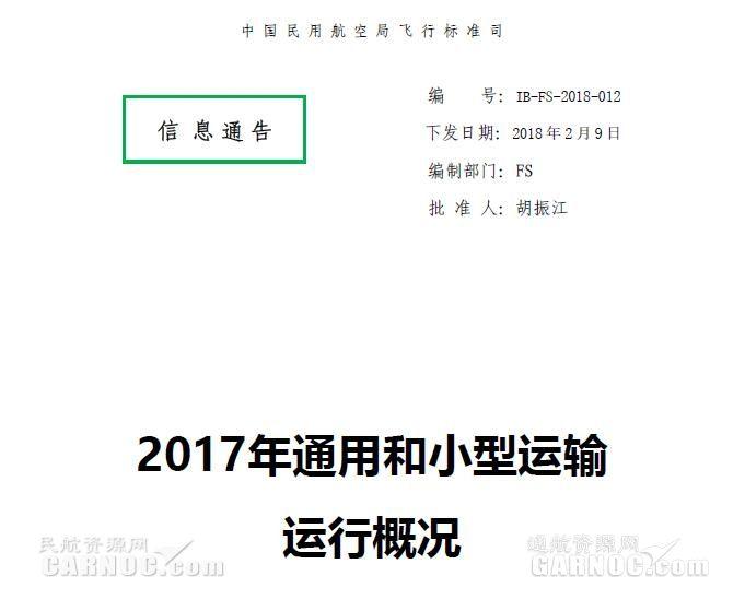 《2017年通用和小型运输运行概况》正式发布!
