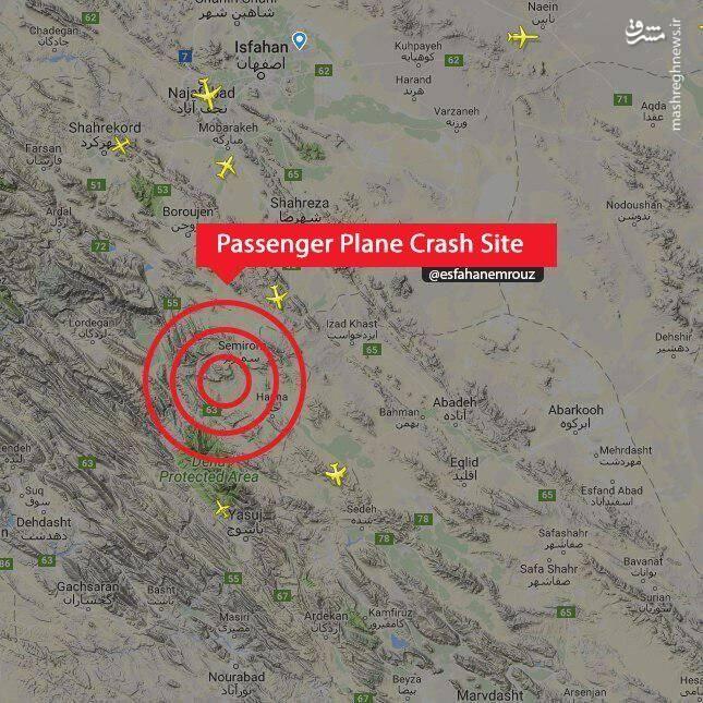 载66人伊朗客机坠毁 救援人员正尽力寻找残骸